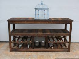 50 rustic tv stand or sofa table wine glass rack barn