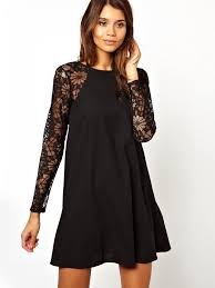 sleeve black dress black contrast lace sleeve chiffon dress sheinside