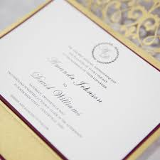 pocket wedding invitations classic gold and burgundy pocket laser cut wedding invitations
