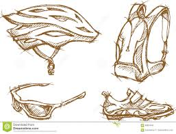 cyclist sketch objects stock vector image 89824540