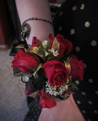 white corsages for prom burgundy white wrist corsage with gold sequence flowers by steen