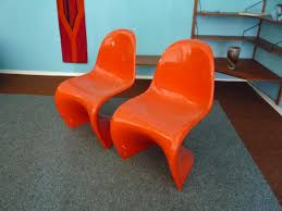 Potato Chip Chair Orange Chairs By Verner Panton For Herman Miller 1968 Set Of 2