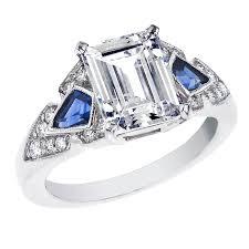 sapphire emerald cut engagement rings platinum deco engagement ring emerald cut kite