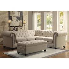Tufted Sectional Sofas Roy 4 Button Tufted Sectional Sofa In Oatmeal Nebraska