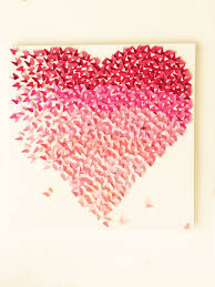 heart pink ombre canvas handmade art wall hanging home decor women