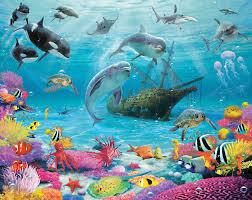 under sea wallpaper mural for kids bedrooms 8ftx10ft walltastic sea adventure 43190 12 panel wall mural