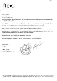 recommendation letter flextronics