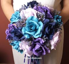 purple and blue wedding turquoise and purple wedding flowers