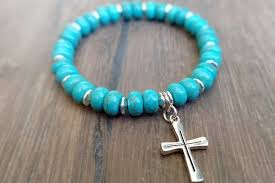 silver bracelet with cross charm images Turquoise howlite stone 8mm abacus bead bracelet with silver cross jpg