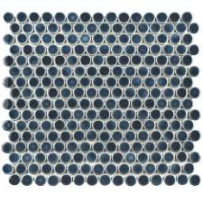 getaround penny round tile  stormy grey blue with getaround storm bluegrey penny round from missionstonetilecom