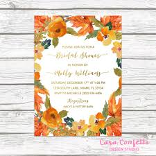 Fall In Love Bridal Shower Invitation Fall Leaves Bridal Shower