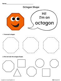 trace and color octagon shapes in color