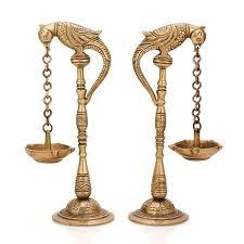 amazon com pair of bird diya oil lamp stand holder brass hindu