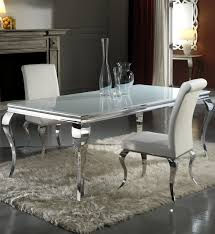 modern louis white glass dining table and chair set dining