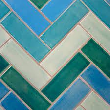 Teal Tile Backsplash by Herringbone Tile Featured In Santa Barbara Lululemon Water