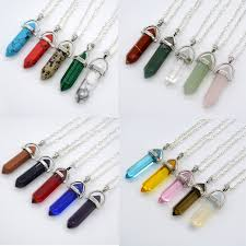 crystal rock pendant necklace images 21 color women white clear natural rock stone bullet pendant diy jpg