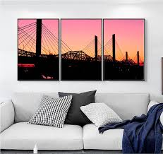 hanging canvas art without frame small fresh bridge sunset art hanging picture 3 pieces canvas