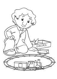 julian postman pat playing model train coloring pages julian