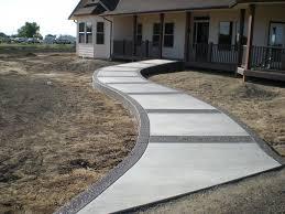 exterior modern design combining materials of cement walkways