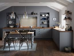 a dark grey shaker style door with a wood grained detail create a