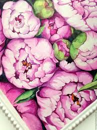 Peonies Bouquet Buy Painting With Watercolors Crimson Bouquet Of Peonies