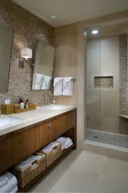 mosaic tile shower floor bathroom contemporary with beige drum