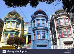 colourfully painted victorian houses in the haight ashbury