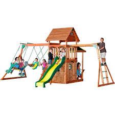 Backyard Cedar Playhouse by Backyard Discovery Saratoga All Cedar Playset 30011com The Home