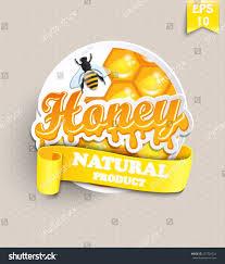 honeycomb ribbon sticker honey honeycomb bee ribbon your stock vector 237729724