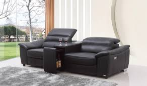 Recliner Sofa Casa Donovan Modern Black Italian Leather Recliner Sofa With Wine