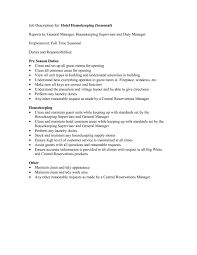 Resume Sample For Housekeeping by Housekeeping Job Description For Resume Resume Examples 2017