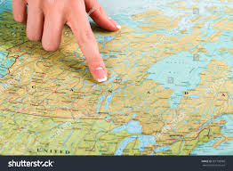 map of canada atlas map canada atlas finger points stock photo 391799968