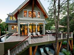 trendy deck designs for log homes with metal porch railing systems