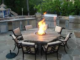 Firepit Table Chic Outdoor Kitchen Barbecue Grills Combine Propane Pit