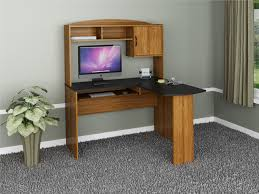 furniture mainstays l shaped desk with hutch in brown with
