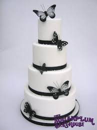 4 tier black u0026 white butterfly wedding cake cakecentral com