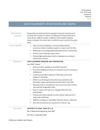 heavy equipment operator resume resume example