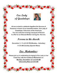 you are invited to celebrate novena to our lady of guadalupe st charles