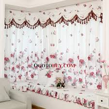Window Curtains Sale Pastoral Printed Floral Cotton Poly Blend White Bay Window Curtain