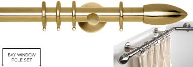 Bay Window Pole Suitable For Eyelet Curtains Rolls Neo 28mm By Hallis Hudson Bay Window Curtain Pole Spun Brass