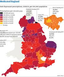 Map Of Wales And England by Anti Depressants In England And Wales A Map Of Gp Prescriptions