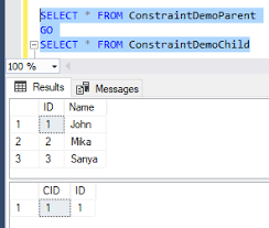 find all foreign keys referencing a table sql server commonly used sql server constraints foreign key check and default