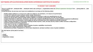 software application developer work experience letters