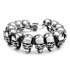 mens skull bracelet images Punk gothic 316l stainless steel skull bracelet mens jewelry at jpg