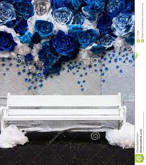 wedding backdrop blue wedding blue floral backdrop and white chair stock photo image