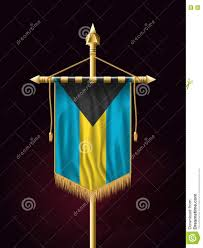Gold Tassels On American Flag Flag Of Bahamas Festive Banner Vertical Flag With Flagpole Stock