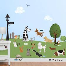 dog and cat wall stickers city park theme wall decals dog and cat wall decals
