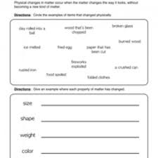 physical changes worksheet 1 physical change worksheets and
