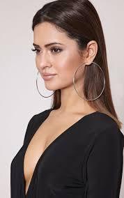 large earrings jessah silver large hoop earrings accessories prettylittlething usa
