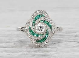 emerald and diamond engagement rings antique wedding promise